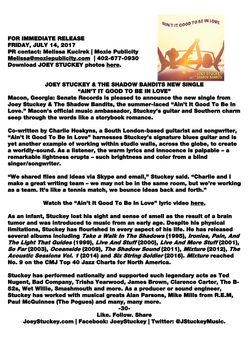 Press Release for New Single - Ain't It Good To Be In Love
