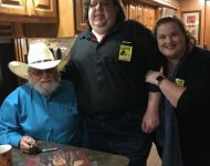 Joey and Jen with Charlie Daniels backstage in 2018