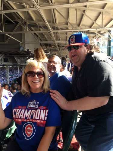 Joey with our friends Cheryl and Pat at the Cubs game in Wrigley Field