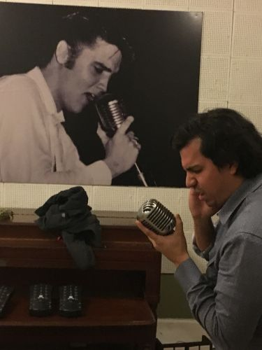 Nestor and The King in the tracking room on Elvis mic at Sun Studio