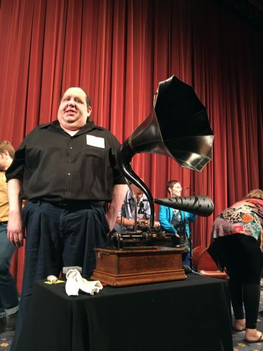 Joey with Thomas Edison Phonograph at AES 2018 Conference