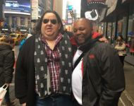 Joey with fellow Berklee student Junio Abraham in Times Square
