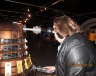 Joey facing off with a Dalek--Joey will probably win