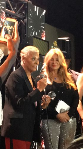 In the room with the legend—Dionne Warwick receiving the lifetime achievement award at BB Kings at the Grammy Soiree 2018