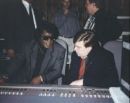 Joey with James Brown at board