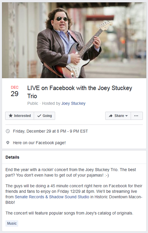 Joey Stuckey Trio LIVE on Facebook on 12-29-17