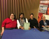Joey with Alan Parsons, Tom Brooks and Julian Colbeck at Alan Parsons Master Class in Santa Ana