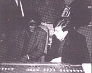 Joey and James Brown at the board