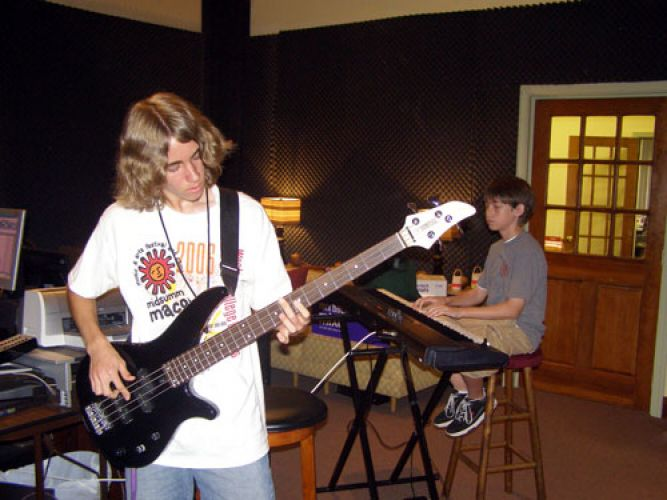 Joshua and TJ from Midsummer Macon recording CS Jam