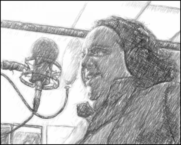 joey-at-microphone-sketch